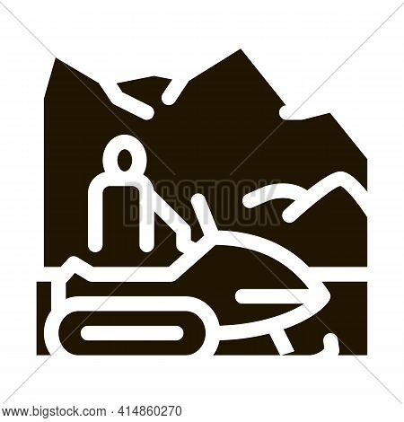 Snowmobile Winter Transport Glyph Icon Vector. Snowmobile Winter Transport Sign. Isolated Symbol Ill