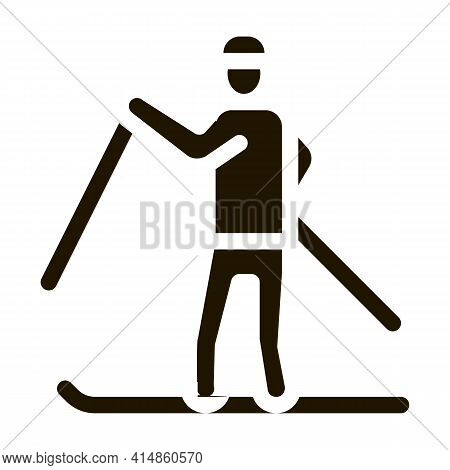 Skier Skiing Glyph Icon Vector. Skier Skiing Sign. Isolated Symbol Illustration
