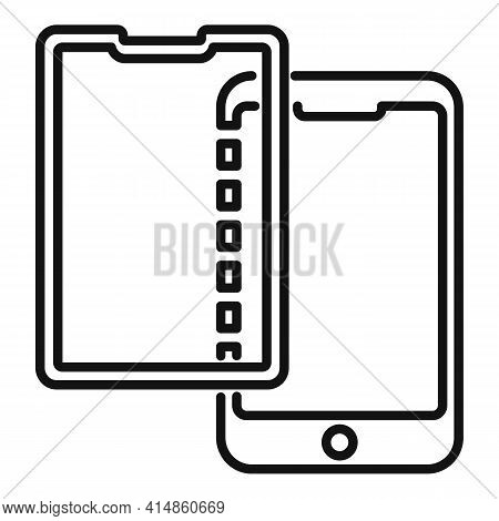 Strong Protective Phone Glass Icon. Outline Strong Protective Phone Glass Vector Icon For Web Design