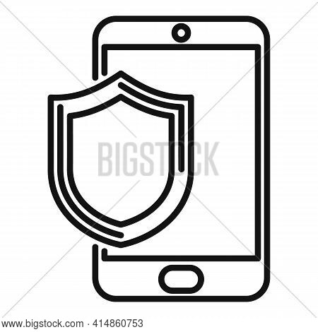 Protected Phone Display Icon. Outline Protected Phone Display Vector Icon For Web Design Isolated On