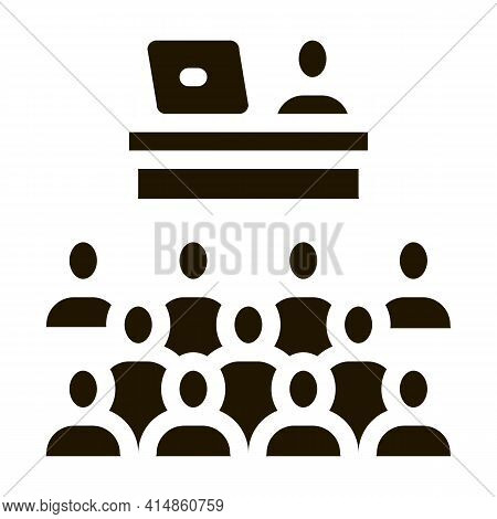 Seminar In Classroom Glyph Icon Vector. Seminar In Classroom Sign. Isolated Symbol Illustration