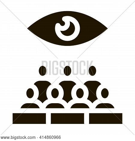 Audience Watching Glyph Icon Vector. Audience Watching Sign. Isolated Symbol Illustration