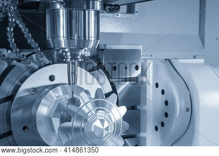 The 5-axis Machining Center Cutting The Metal Gear Part With Solid Ball Endmill Tool. The Hi-precisi