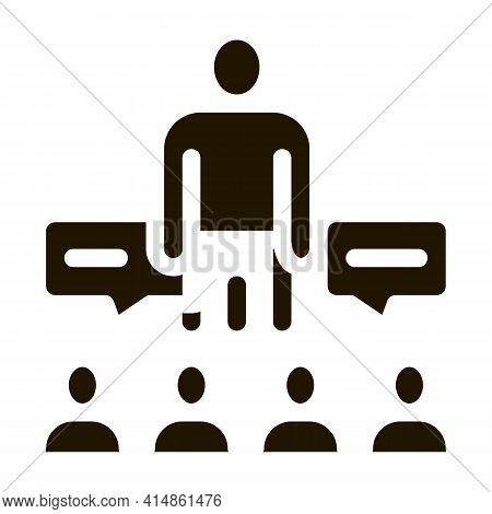 Lector Discuss With Audience Glyph Icon Vector. Lector Discuss With Audience Sign. Isolated Symbol I