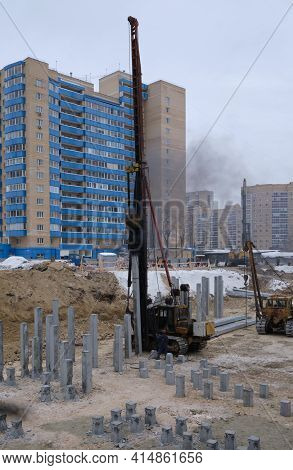 Ekaterinburg Russia-1 February 2021: A Piling Machine Drives Piles Into The Ground For The Construct