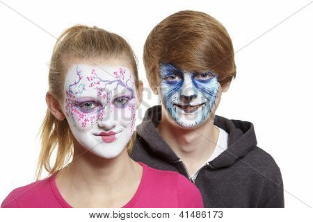 Teenage Boy And Girl With Face Painting Geisha Girl And Wolf