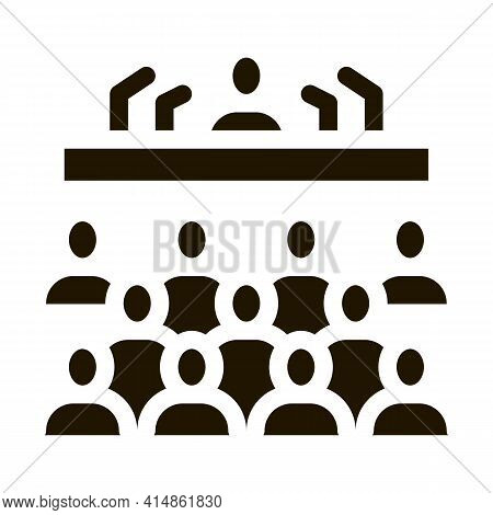 Press Conference Glyph Icon Vector. Press Conference Sign. Isolated Symbol Illustration