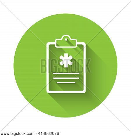 White Medical Clipboard With Clinical Record Icon Isolated With Long Shadow. Health Insurance Form.