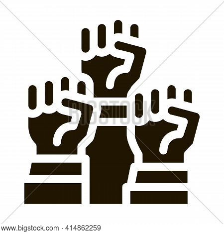 Multiracial Fists Glyph Icon Vector. Multiracial Fists Sign. Isolated Symbol Illustration