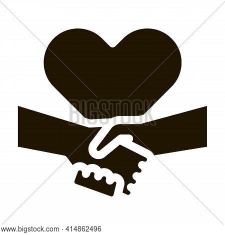 Multiracial Handshake Heart Glyph Icon Vector. Multiracial Handshake Heart Sign. Isolated Symbol Ill