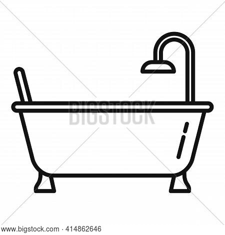 Bath Tub Icon. Outline Bath Tub Vector Icon For Web Design Isolated On White Background