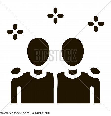 Multiracial Human Friends Glyph Icon Vector. Multiracial Human Friends Sign. Isolated Symbol Illustr