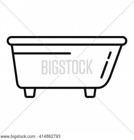 Ceramic Bath Tub Icon. Outline Ceramic Bath Tub Vector Icon For Web Design Isolated On White Backgro