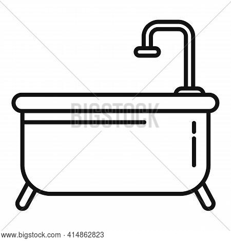 Classic Shower Bathtub Icon. Outline Classic Shower Bathtub Vector Icon For Web Design Isolated On W