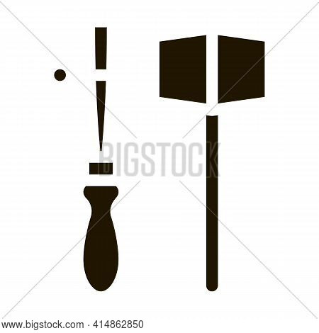 Leather Craft Tools Glyph Icon Vector. Leather Craft Tools Sign. Isolated Symbol Illustration