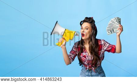 Sexy Pin Up Lady With Money Screaming Into Megaphone On Blue Studio Background, Banner Design With E