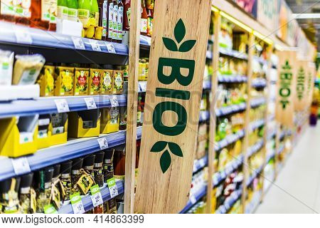 Bio Food Products In A Supermarket