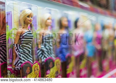 Barbie Dolls Put Up For Sale On A Store Shelf