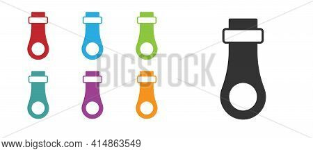 Black Zipper Icon Isolated On White Background. Set Icons Colorful. Vector