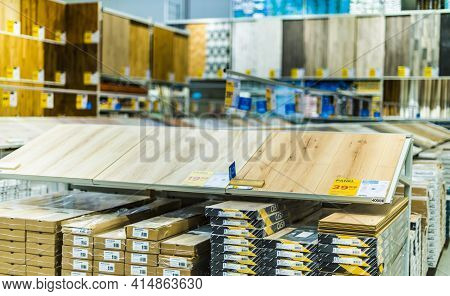 Poznan, Pol - Mar 17, 2021: Floor Panels Put Up For Sale In A Home Improvement Store