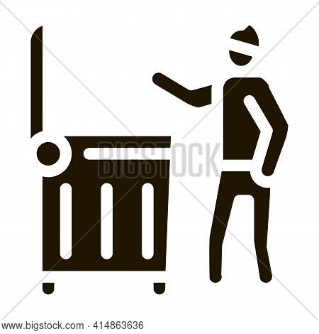 Homeless Looking Food In Trash Can Glyph Icon Vector. Homeless Looking Food In Trash Can Sign. Isola
