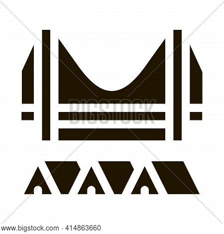 Homeless Tents Under Bridge Glyph Icon Vector. Homeless Tents Under Bridge Sign. Isolated Symbol Ill