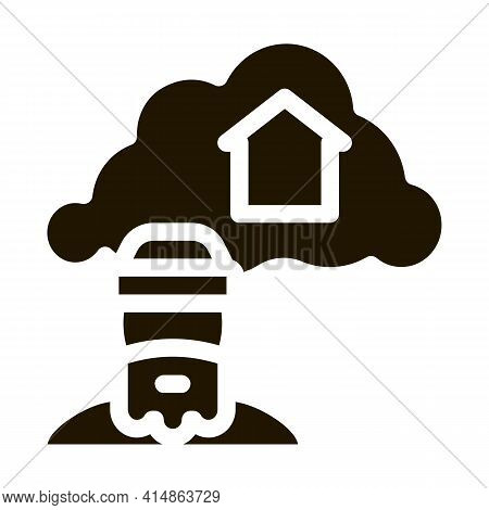 Homeless Dreaming About Home Glyph Icon Vector. Homeless Dreaming About Home Sign. Isolated Symbol I