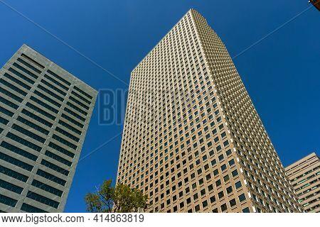 Denver,co - September 10,2019:city Skyscrapers On The Blue Sky Of Denver, Colorado.