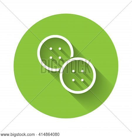White Sewing Button For Clothes Icon Isolated With Long Shadow. Clothing Button. Green Circle Button