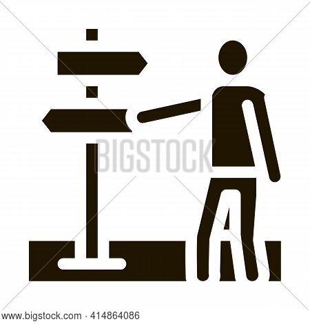 Human Direction Pillar Glyph Icon Vector. Human Direction Pillar Sign. Isolated Symbol Illustration