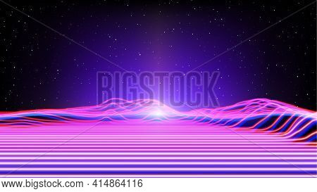 Synthwave Or Vaporwave Abstract Landscape With Neon Light Rays Terrain In Retro Space. 80s Or 90s St