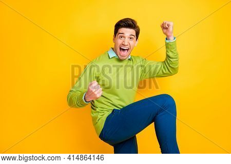 Photo Of Young Happy Crazy Ecstatic Smiling Cheerful Good Moo Man Raise Fists In Victory Isolated On