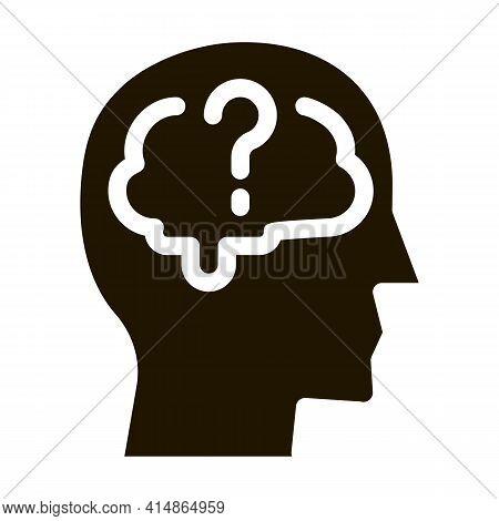 Brain Question Mark Glyph Icon Vector. Brain Question Mark Sign. Isolated Symbol Illustration