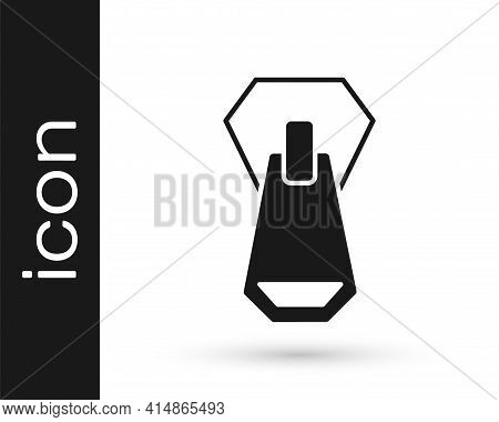 Black Zipper Icon Isolated On White Background. Vector