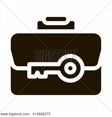Case And Key Glyph Icon Vector. Case And Key Sign. Isolated Symbol Illustration