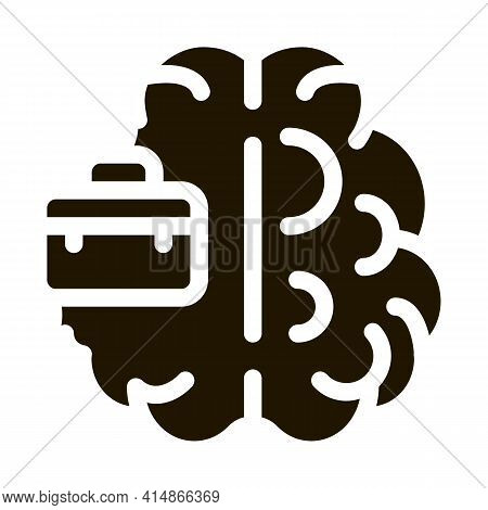 Business Case And Brain Glyph Icon Vector. Business Case And Brain Sign. Isolated Symbol Illustratio