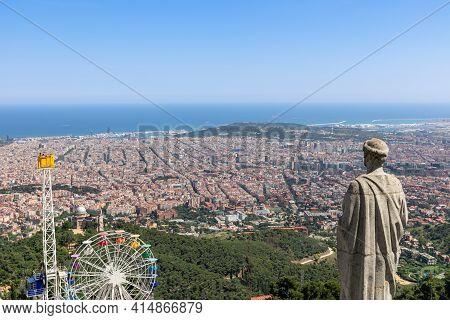 Looking Over Barcelona From Tibidabo Hill. Barcelona, Spain