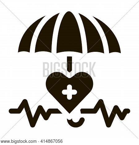 Heart Cardio And Umbrella Glyph Icon Vector. Heart Cardio And Umbrella Sign. Isolated Symbol Illustr
