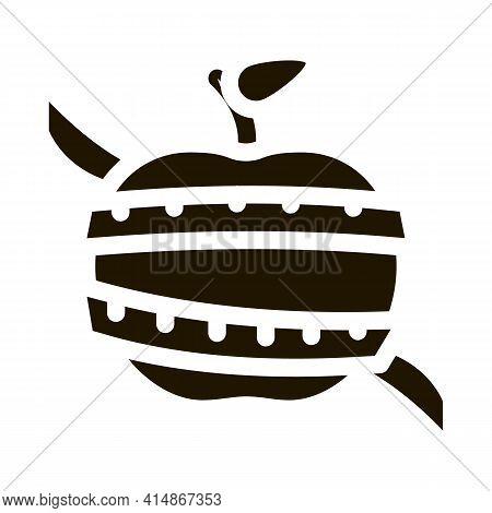 Fruit Apple Measuring Cord Glyph Icon Vector. Fruit Apple Measuring Cord Sign. Isolated Symbol Illus
