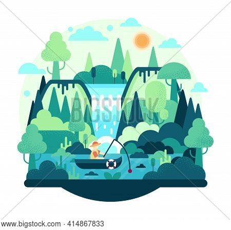 Fisherman With A Fishing Rod In The Boat On The Lake - Flat Cartoon Illustration. A Man Is Resting I