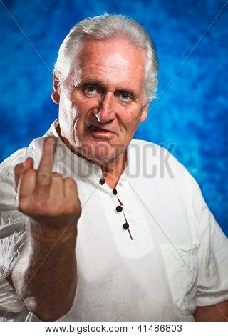 Angry Man Giving The Middle Finger