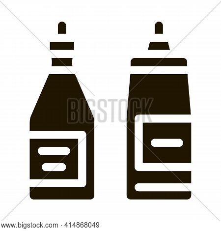 Ketchup And Mayonnaise Sauce Bottles Glyph Icon Vector. Ketchup And Mayonnaise Sauce Bottles Sign. I