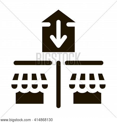 Business Shop Competition Glyph Icon Vector. Business Shop Competition Sign. Isolated Symbol Illustr