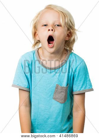 Tired Young Boy Yawning