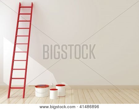Red Ladder Against The Wall