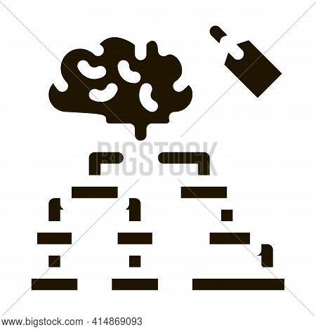 Brain Label Hierarchy Chart Glyph Icon Vector. Brain Label Hierarchy Chart Sign. Isolated Symbol Ill