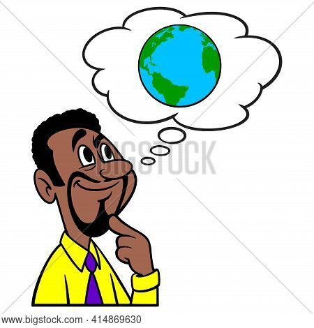 Man Thinking About Climate Change Conspiracy - A Cartoon Illustration Of A Man Thinking About Climat