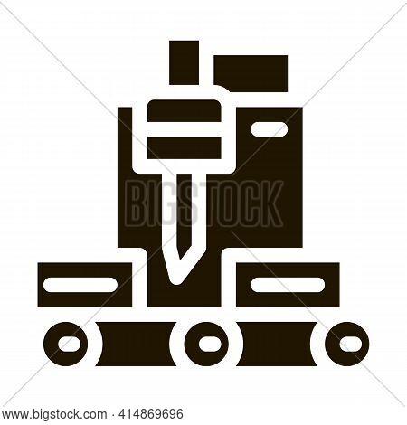 Wood Plank Cutting Machine Glyph Icon Vector. Wood Plank Cutting Machine Sign. Isolated Symbol Illus