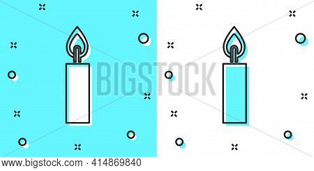 Black Line Burning Candle Icon Isolated On Green And White Background. Cylindrical Candle Stick With