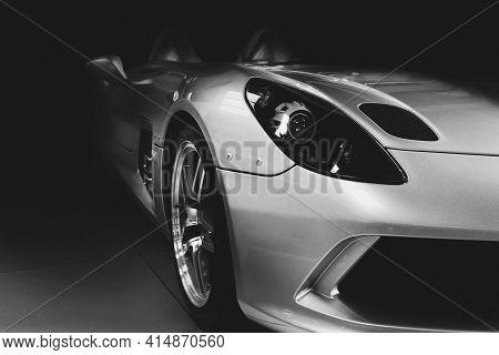 Kiev, Ukraine - August 21, 2011: Mercedes-benz Slr Mclaren Stirling Moss On A Dark Background